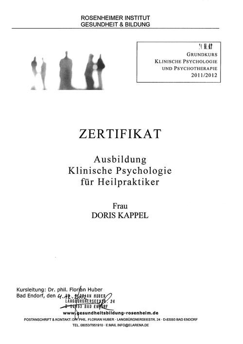 Zertifikate - Klangtherapie Doris Kappel